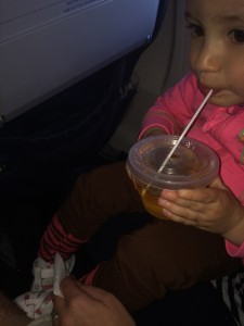 My daughter enjoying her kid-friendly cocktail.