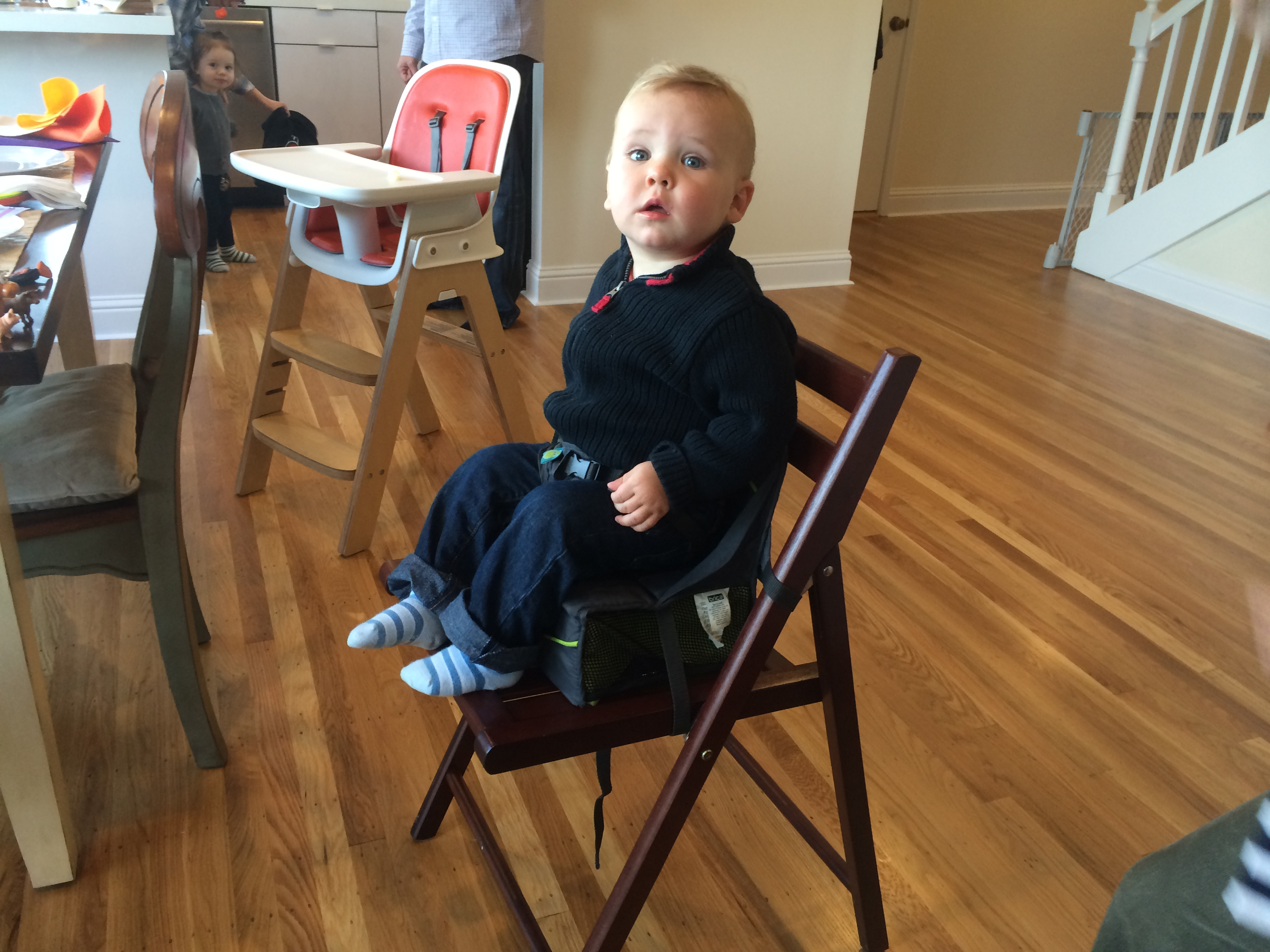 "Today's Hint: A Great (and Cheap) Travel ""High Chair"""