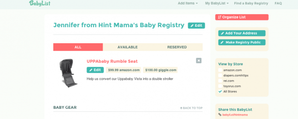 Today's Hint: Where to Create Your Baby Registry