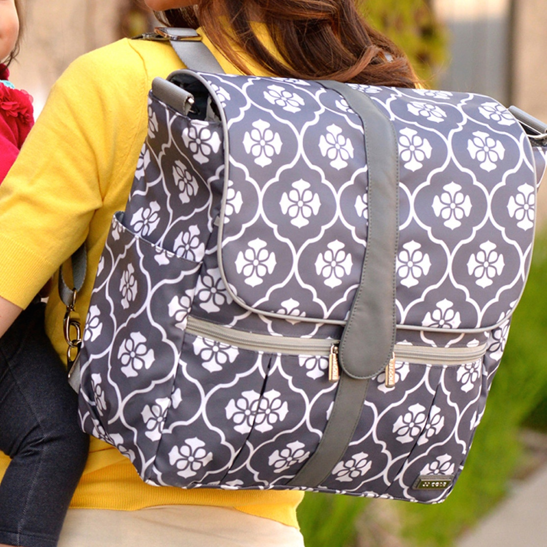 Backpack Diaper Bag Gray Floret