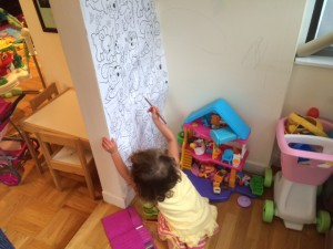 The drawing wall I created for my daughter.